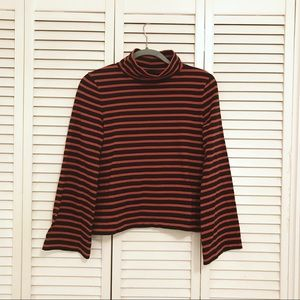 Madewell Bell-Sleeved Striped Turtleneck Top